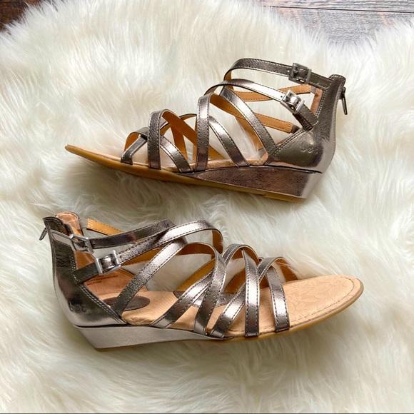 BOC Wedge Sandals Silver Strappy Gladiator